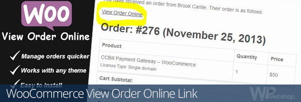 WooCommerce View Order Online Link